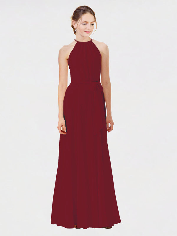Mila Queen Kendal Bridesmaid Dress Burgundy - A-Line High Neck Bateau Long Bridesmaid Gown Kendal in Burgundy