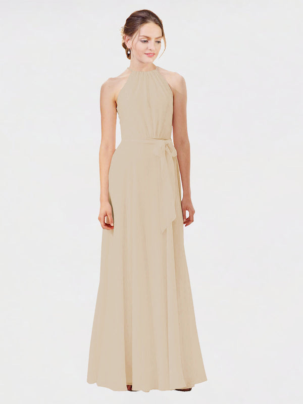 Mila Queen Kendal Bridesmaid Dress Champagne - A-Line High Neck Bateau Long Bridesmaid Gown Kendal in Champagne