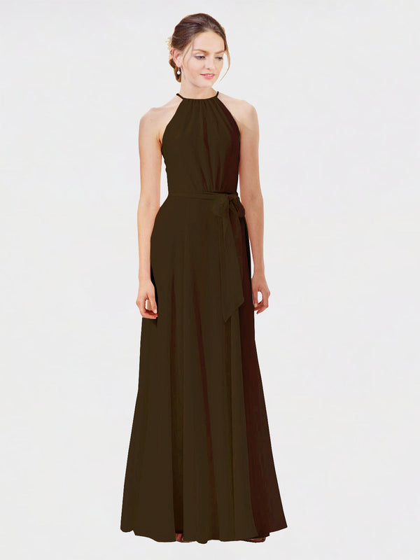 Mila Queen Kendal Bridesmaid Dress Chocolate - A-Line High Neck Bateau Long Bridesmaid Gown Kendal in Chocolate
