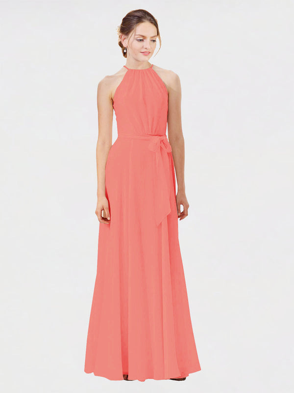 Mila Queen Kendal Bridesmaid Dress Coral - A-Line High Neck Bateau Long Bridesmaid Gown Kendal in Coral
