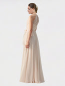 Mila Queen Kendal Bridesmaid Dress in Cream Pink - A-Line High Neck Bateau Long Bridesmaid Gown Kendal in Cream Pink