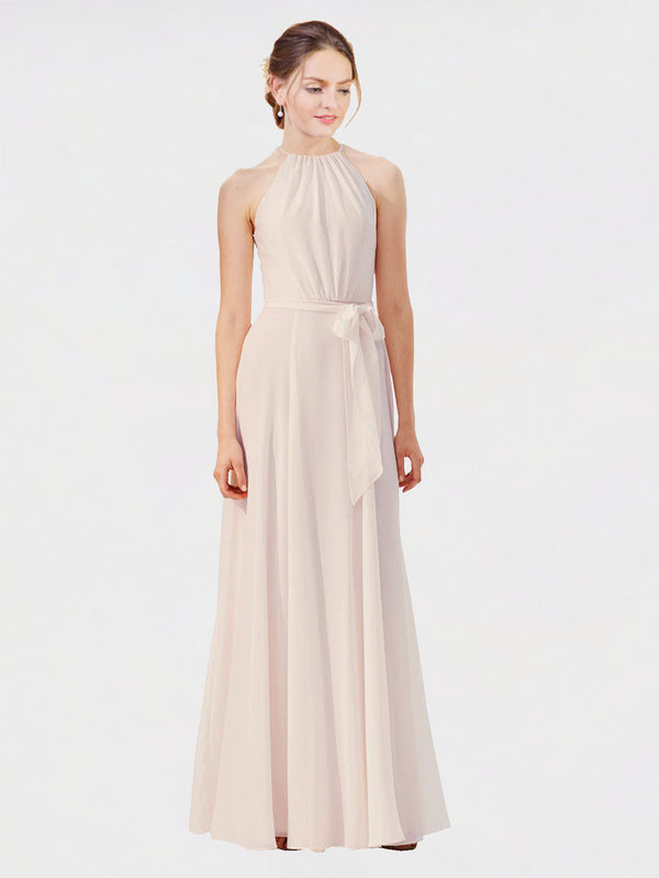 Mila Queen Kendal Bridesmaid Dress Cream Pink - A-Line High Neck Bateau Long Bridesmaid Gown Kendal in Cream Pink