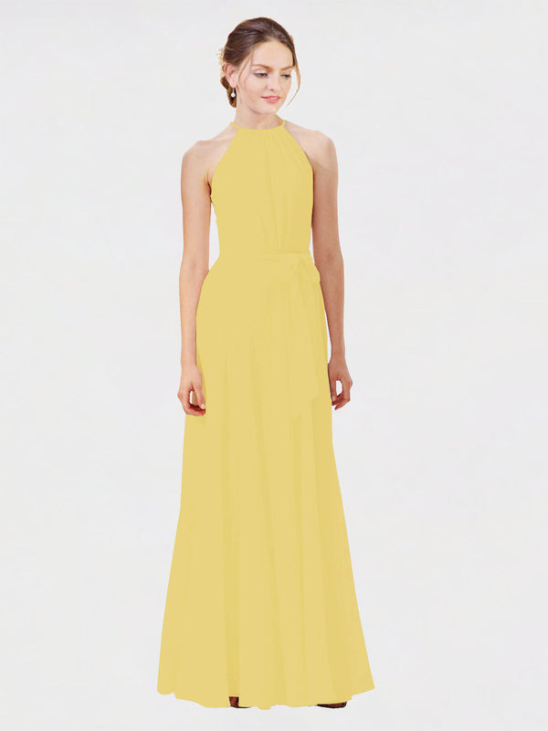 Mila Queen Kendal Bridesmaid Dress Daffodil - A-Line High Neck Bateau Long Bridesmaid Gown Kendal in Daffodil