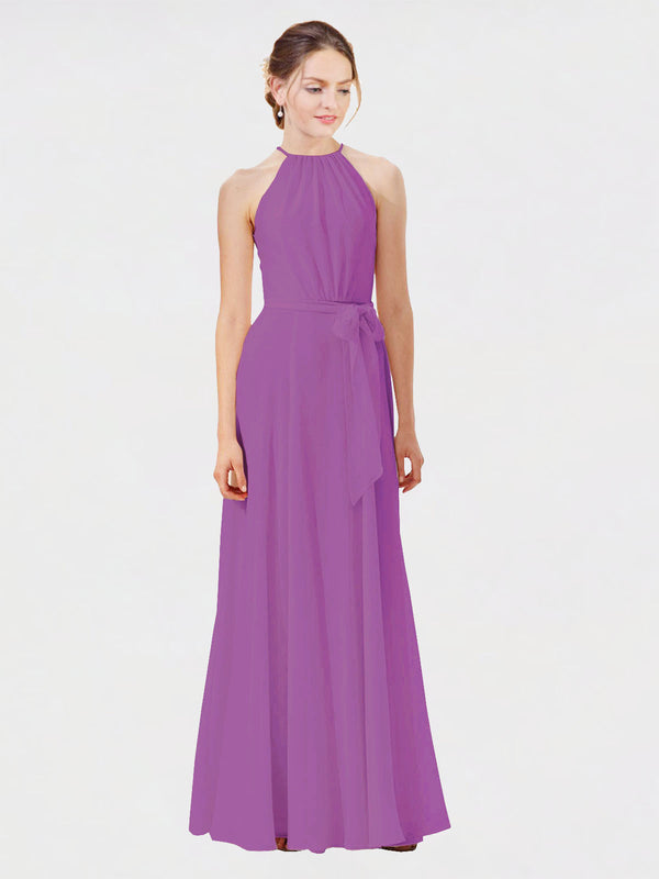 Mila Queen Kendal Bridesmaid Dress Dahlia - A-Line High Neck Bateau Long Bridesmaid Gown Kendal in Dahlia