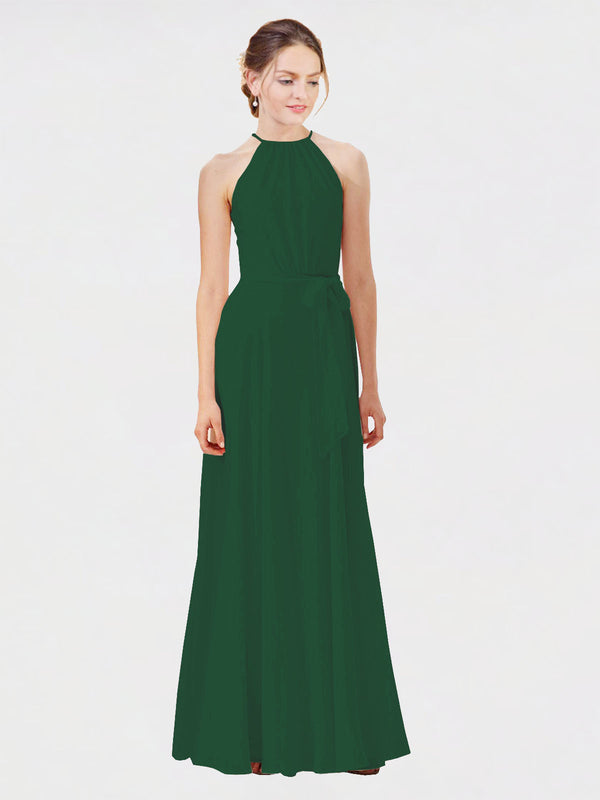 Mila Queen Kendal Bridesmaid Dress Dark Green - A-Line High Neck Bateau Long Bridesmaid Gown Kendal in Dark Green