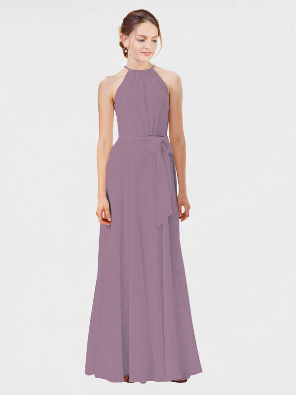 Mila Queen Kendal Bridesmaid Dress Dark Lavender - A-Line High Neck Bateau Long Bridesmaid Gown Kendal in Dark Lavender