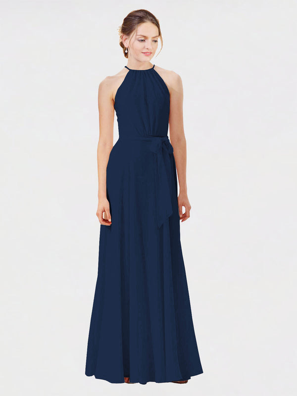 Mila Queen Kendal Bridesmaid Dress Dark Navy - A-Line High Neck Bateau Long Bridesmaid Gown Kendal in Dark Navy