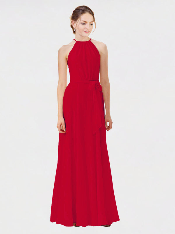 Mila Queen Kendal Bridesmaid Dress Dark Red - A-Line High Neck Bateau Long Bridesmaid Gown Kendal in Dark Red