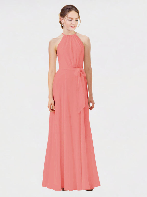 Mila Queen Kendal Bridesmaid Dress Desert Rose - A-Line High Neck Bateau Long Bridesmaid Gown Kendal in Desert Rose