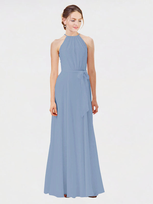 Mila Queen Kendal Bridesmaid Dress Dusty Blue - A-Line High Neck Bateau Long Bridesmaid Gown Kendal in Dusty Blue