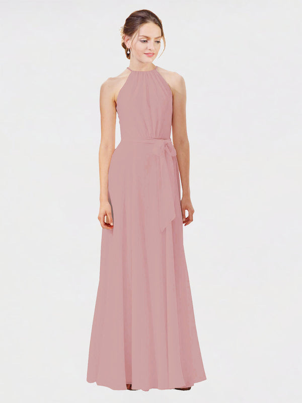 Mila Queen Kendal Bridesmaid Dress Dusty Pink - A-Line High Neck Bateau Long Bridesmaid Gown Kendal in Dusty Pink