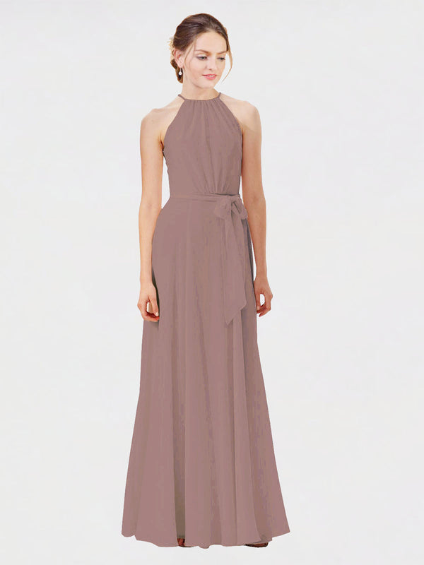 Mila Queen Kendal Bridesmaid Dress Dusty Rose - A-Line High Neck Bateau Long Bridesmaid Gown Kendal in Dusty Rose
