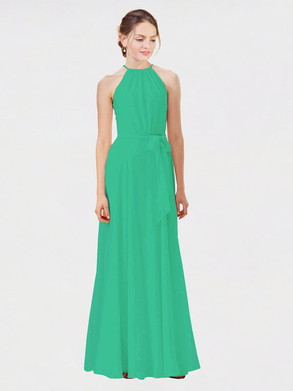 Mila Queen Kendal Bridesmaid Dress Emerald Green - A-Line High Neck Bateau Long Bridesmaid Gown Kendal in Emerald Green