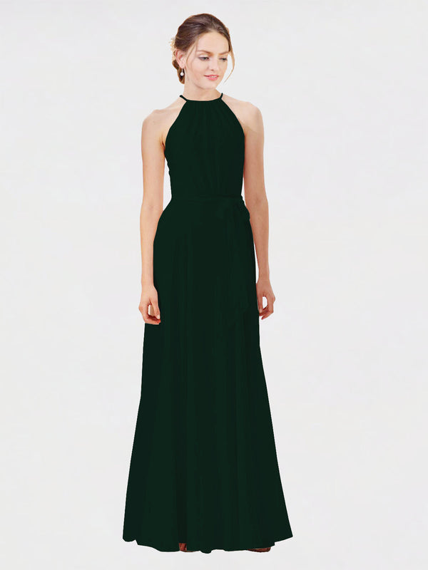 Mila Queen Kendal Bridesmaid Dress Ever Green - A-Line High Neck Bateau Long Bridesmaid Gown Kendal in Ever Green