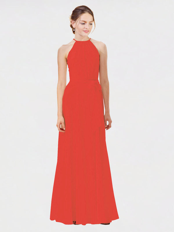Mila Queen Kendal Bridesmaid Dress Firecracker - A-Line High Neck Bateau Long Bridesmaid Gown Kendal in Firecracker