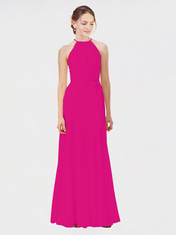 Mila Queen Kendal Bridesmaid Dress Fuchsia - A-Line High Neck Bateau Long Bridesmaid Gown Kendal in Fuchsia