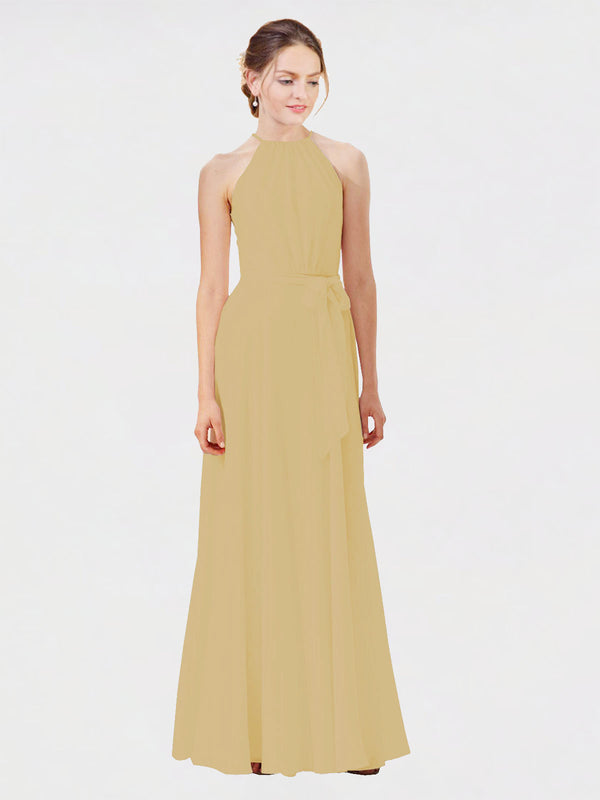 Mila Queen Kendal Bridesmaid Dress Gold - A-Line High Neck Bateau Long Bridesmaid Gown Kendal in Gold