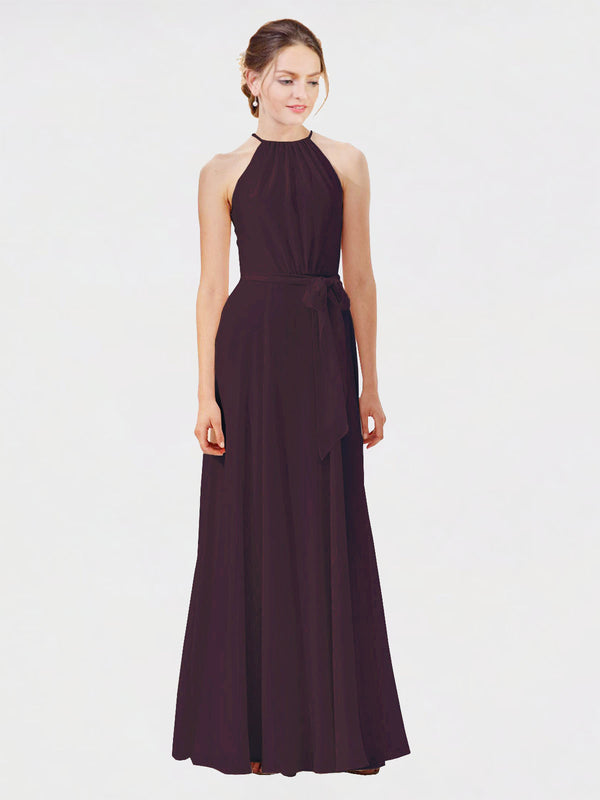 Mila Queen Kendal Bridesmaid Dress Grape - A-Line High Neck Bateau Long Bridesmaid Gown Kendal in Grape