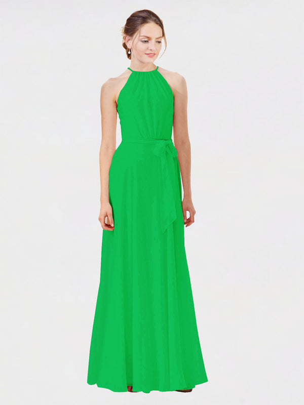Mila Queen Kendal Bridesmaid Dress Green - A-Line High Neck Bateau Long Bridesmaid Gown Kendal in Green