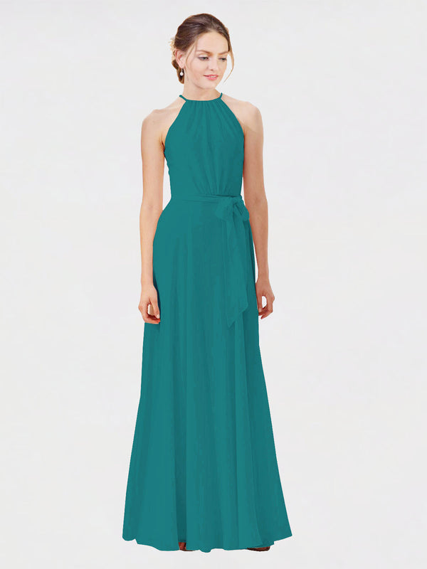 Mila Queen Kendal Bridesmaid Dress Hunter - A-Line High Neck Bateau Long Bridesmaid Gown Kendal in Hunter