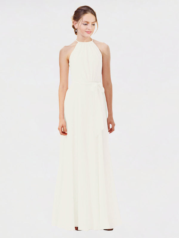 Mila Queen Kendal Bridesmaid Dress Ivory - A-Line High Neck Bateau Long Bridesmaid Gown Kendal in Ivory