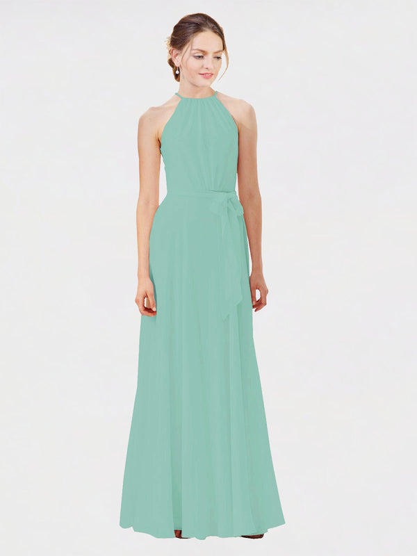 Mila Queen Kendal Bridesmaid Dress Jade - A-Line High Neck Bateau Long Bridesmaid Gown Kendal in Jade