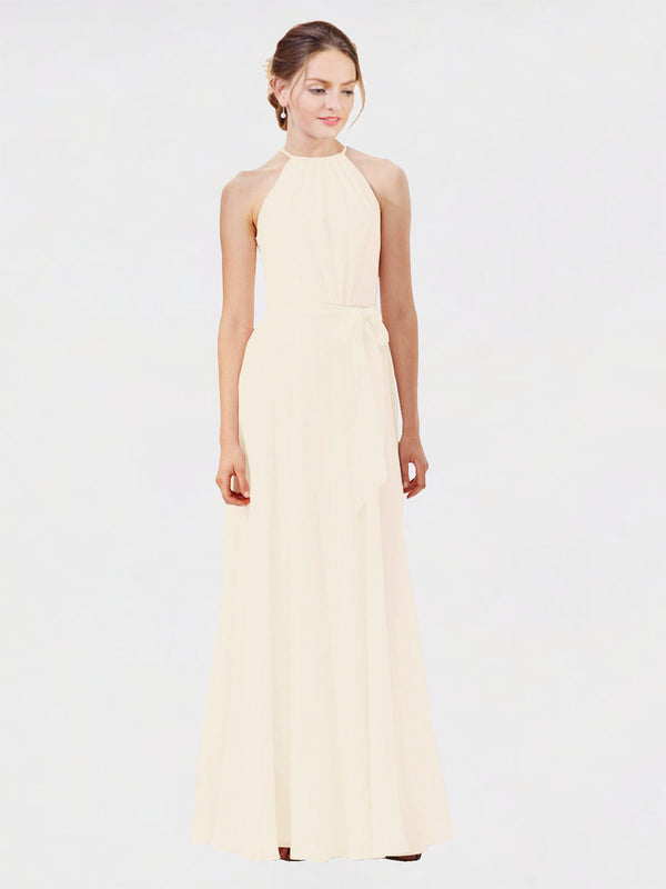 Mila Queen Kendal Bridesmaid Dress Light Champagne - A-Line High Neck Bateau Long Bridesmaid Gown Kendal in Light Champagne