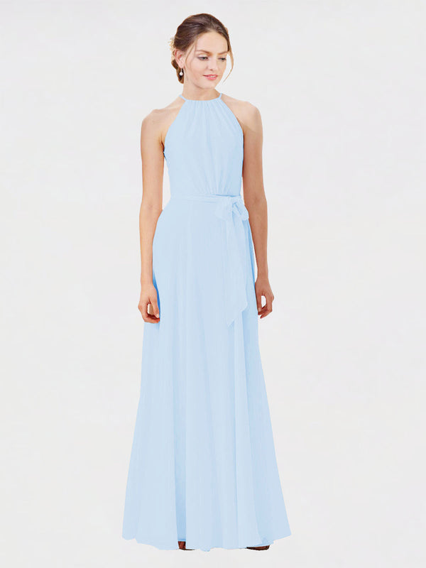 Mila Queen Kendal Bridesmaid Dress Light Sky Blue - A-Line High Neck Bateau Long Bridesmaid Gown Kendal in Light Sky Blue