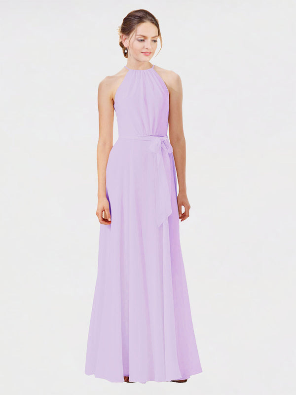 Mila Queen Kendal Bridesmaid Dress Lilac - A-Line High Neck Bateau Long Bridesmaid Gown Kendal in Lilac