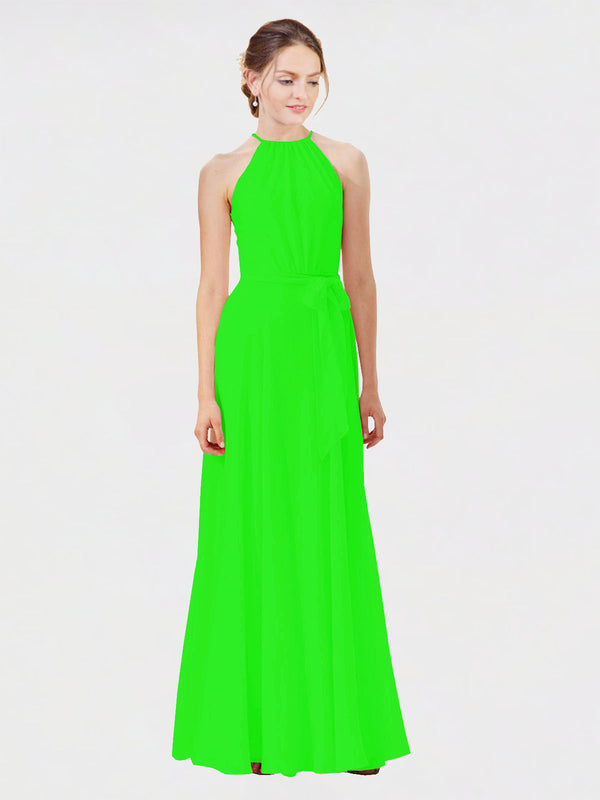 Mila Queen Kendal Bridesmaid Dress Lime Green - A-Line High Neck Bateau Long Bridesmaid Gown Kendal in Lime Green