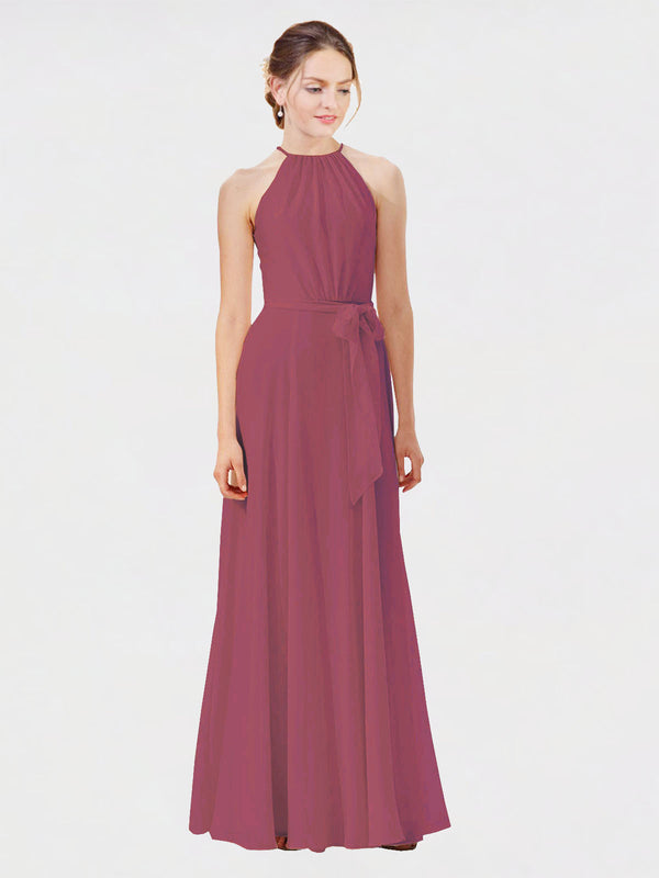 Mila Queen Kendal Bridesmaid Dress Mauve Taupe - A-Line High Neck Bateau Long Bridesmaid Gown Kendal in Mauve Taupe