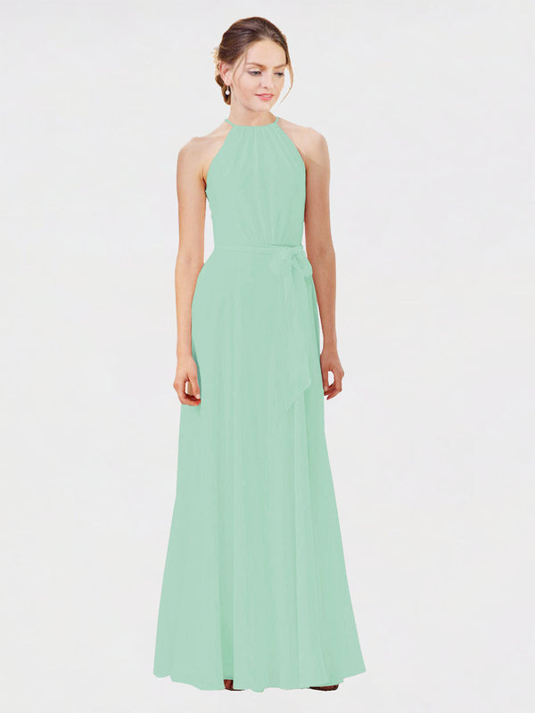 Mila Queen Kendal Bridesmaid Dress Mint Green - A-Line High Neck Bateau Long Bridesmaid Gown Kendal in Mint Green