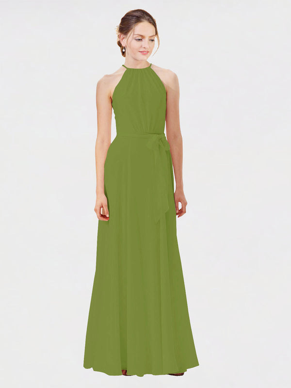 Mila Queen Kendal Bridesmaid Dress Olive Green - A-Line High Neck Bateau Long Bridesmaid Gown Kendal in Olive Green