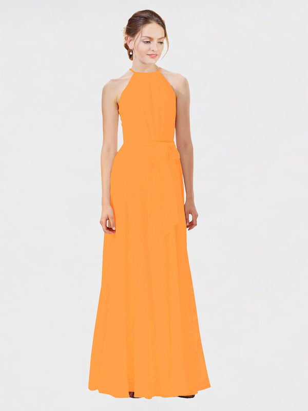 Mila Queen Kendal Bridesmaid Dress Orange - A-Line High Neck Bateau Long Bridesmaid Gown Kendal in Orange