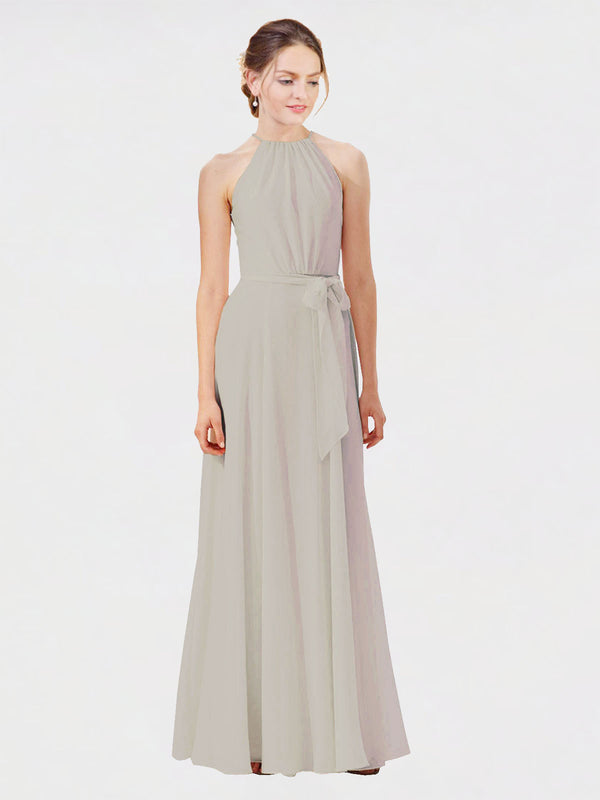 Mila Queen Kendal Bridesmaid Dress Oyster Silver - A-Line High Neck Bateau Long Bridesmaid Gown Kendal in Oyster Silver