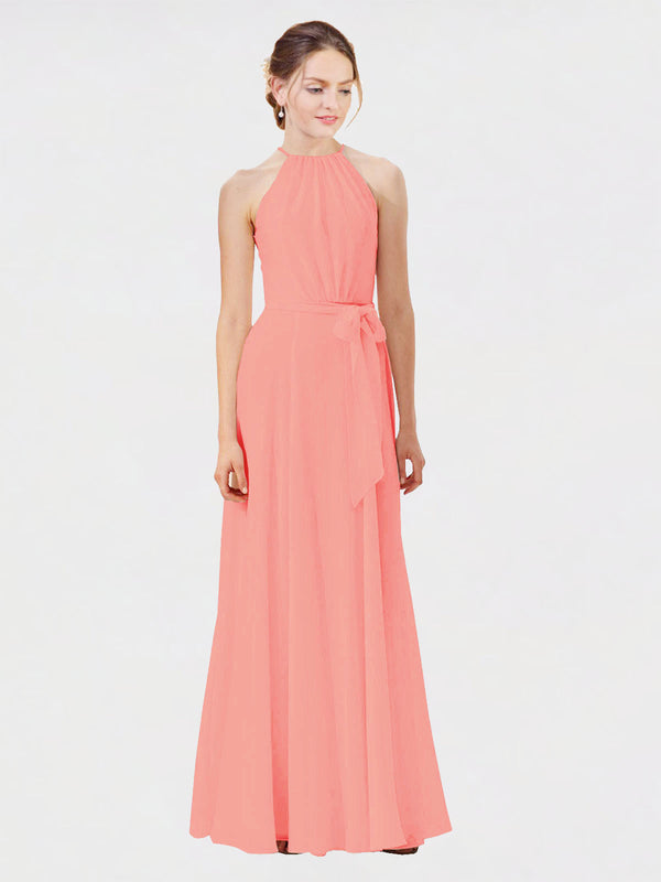 Mila Queen Kendal Bridesmaid Dress Peach - A-Line High Neck Bateau Long Bridesmaid Gown Kendal in Peach