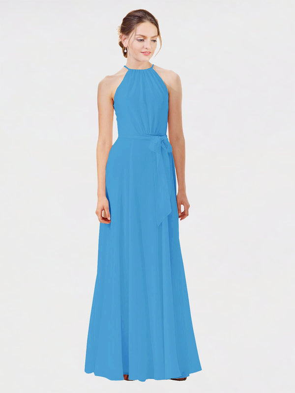 Mila Queen Kendal Bridesmaid Dress Peacock Blue - A-Line High Neck Bateau Long Bridesmaid Gown Kendal in Peacock Blue
