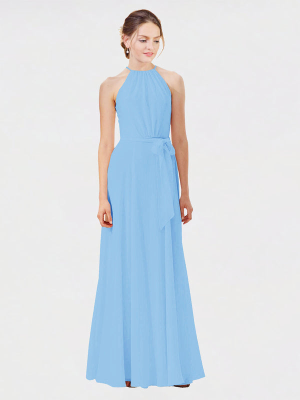 Mila Queen Kendal Bridesmaid Dress Periwinkle - A-Line High Neck Bateau Long Bridesmaid Gown Kendal in Periwinkle