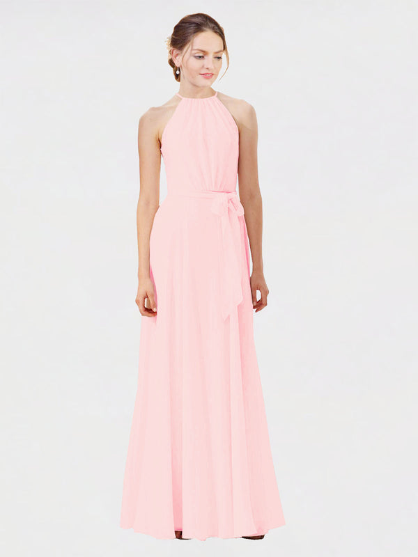 Mila Queen Kendal Bridesmaid Dress Pink - A-Line High Neck Bateau Long Bridesmaid Gown Kendal in Pink