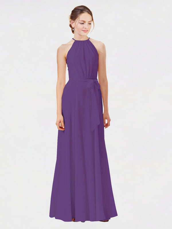 Mila Queen Kendal Bridesmaid Dress Plum Purple - A-Line High Neck Bateau Long Bridesmaid Gown Kendal in Plum Purple