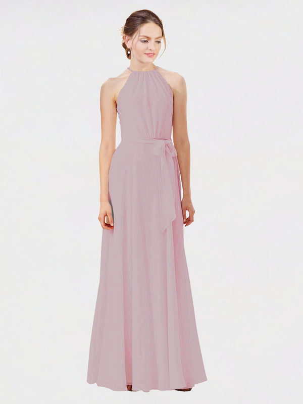 Mila Queen Kendal Bridesmaid Dress Primrose - A-Line High Neck Bateau Long Bridesmaid Gown Kendal in Primrose