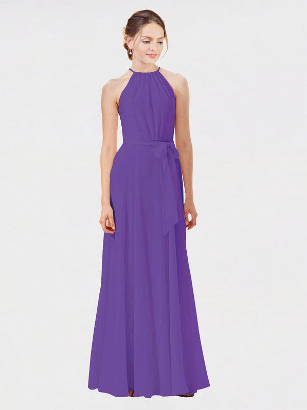 Mila Queen Kendal Bridesmaid Dress Purple - A-Line High Neck Bateau Long Bridesmaid Gown Kendal in Purple