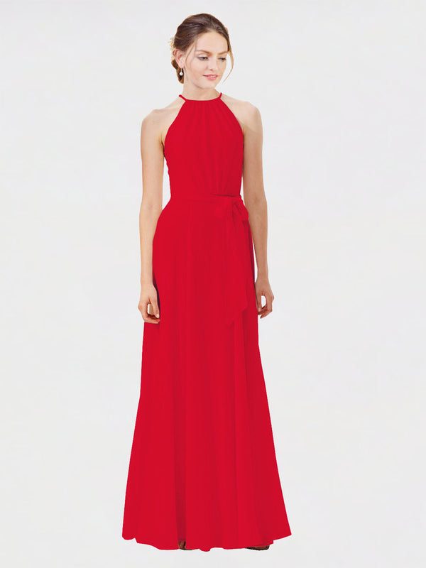 Mila Queen Kendal Bridesmaid Dress Red - A-Line High Neck Bateau Long Bridesmaid Gown Kendal in Red