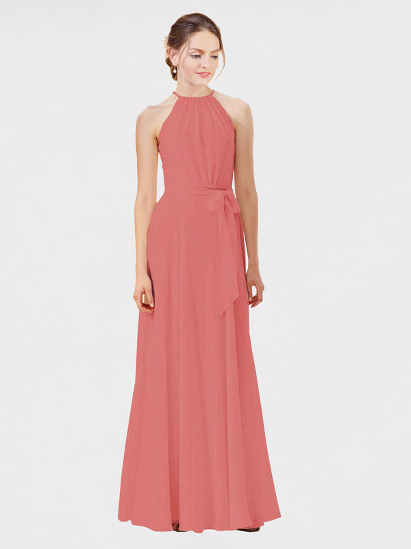 Mila Queen Kendal Bridesmaid Dress Rosewood - A-Line High Neck Bateau Long Bridesmaid Gown Kendal in Rosewood