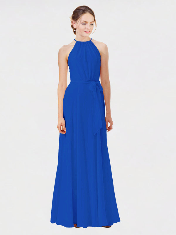 Mila Queen Kendal Bridesmaid Dress Royal Blue - A-Line High Neck Bateau Long Bridesmaid Gown Kendal in Royal Blue