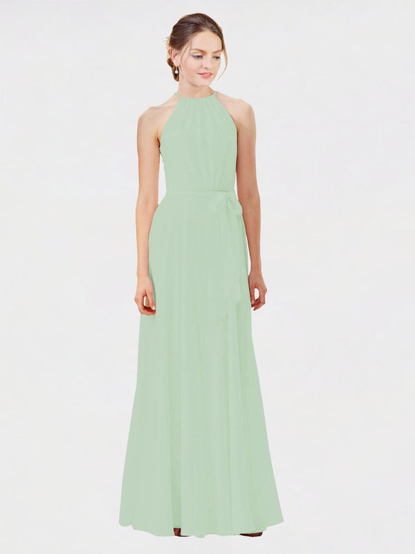 Mila Queen Kendal Bridesmaid Dress Sage - A-Line High Neck Bateau Long Bridesmaid Gown Kendal in Sage