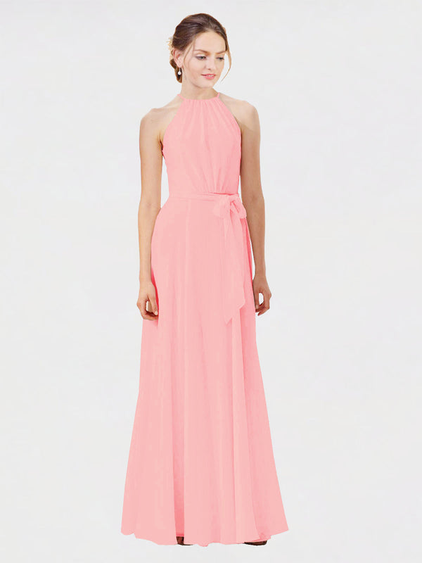 Mila Queen Kendal Bridesmaid Dress Salmon - A-Line High Neck Bateau Long Bridesmaid Gown Kendal in Salmon
