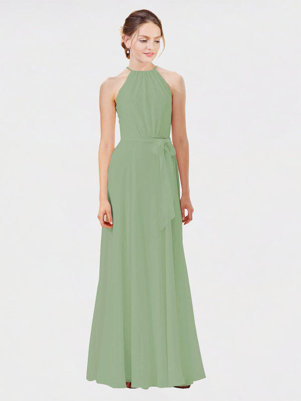 Mila Queen Kendal Bridesmaid Dress Seagrass - A-Line High Neck Bateau Long Bridesmaid Gown Kendal in Seagrass