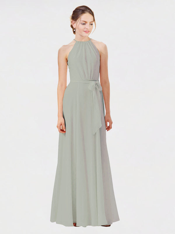 Mila Queen Kendal Bridesmaid Dress Silver - A-Line High Neck Bateau Long Bridesmaid Gown Kendal in Silver