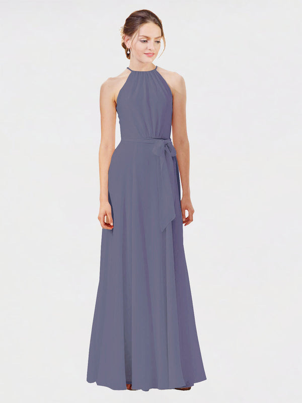 Mila Queen Kendal Bridesmaid Dress Silver Stone - A-Line High Neck Bateau Long Bridesmaid Gown Kendal in Silver Stone